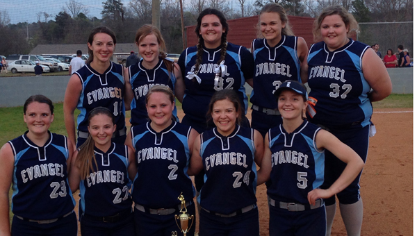 The Evangel Lightning softball team won the 2014 North River Christian softball tournament. The squad outscored opponents faced in five games 46-8. (Contributed)