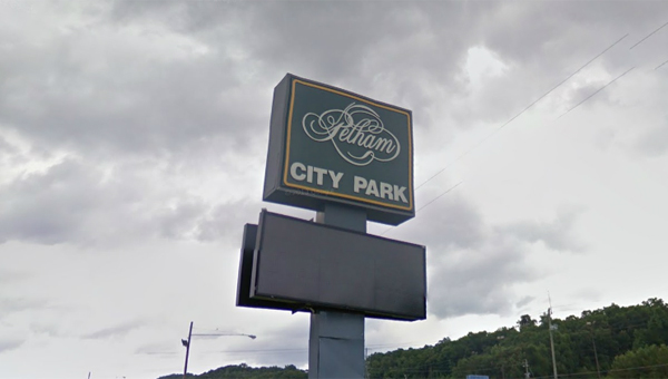 The current Pelham City Park sign, which has been out of service for years, will soon be replaced by a new video-capable sign. (Contributed)