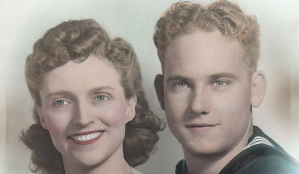 """A picture of Jake and Ludie Carr taken on their honeymoon during WWII is one of the items on display at the """"Alabama Voices"""" exhibit (contributed)."""