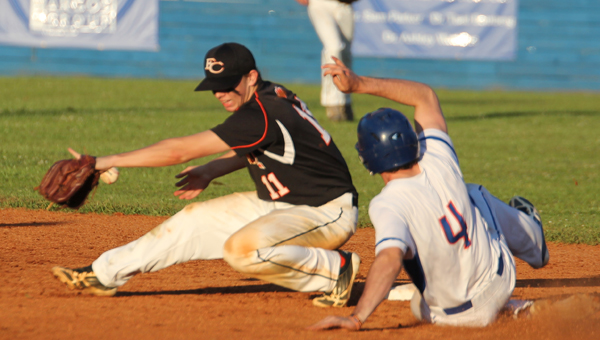 Montevallo's Colby Lucas slides into second in a playoff matchup against Fayette County. Unfortunately for the Bulldogs, the Tigers took the series win. (Reporter Photo/Drew Granthum)