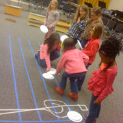 """Students participate in an activity placing musical """"notes"""" on a scale during the musicianship class at the University of Montevallo. (Contributed)"""