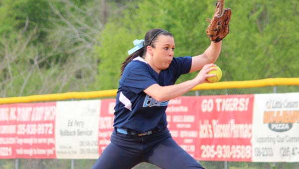 Calera's Katie Eiland worked 5 1/3 innings, giving up three hits and one run (earned) while walking three and striking out two in a loss to West Blocton April 24. (Contributed/Stacey Criss)