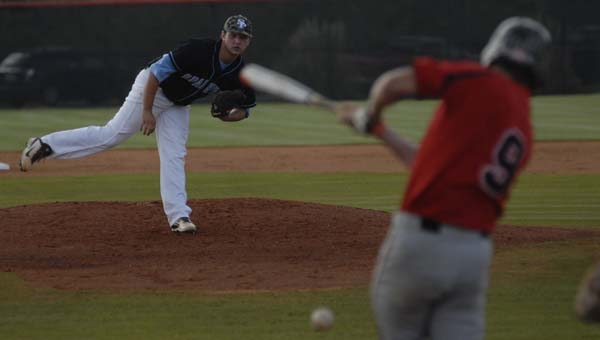 Spain Park's Tristan Widra watches a pitch in an April 21 matchup with Thompson. The Jags won the contest, 12-3. (Reporter Photo/Drew Granthum)
