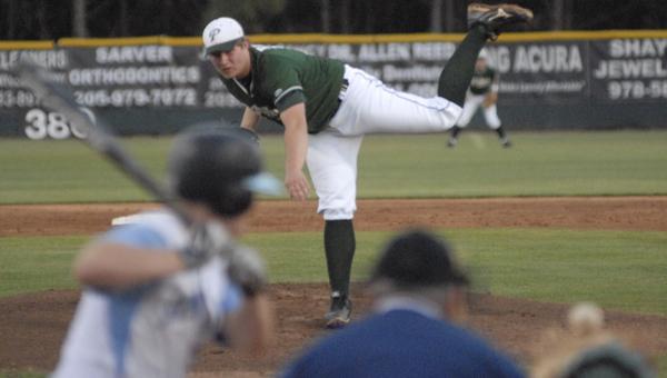 Pelham pitcher Jack Pierce tossed 5.1 innings of four-hit baseball in a 4-3 win over Spain Park April 1. (Reporter Photo/Drew Granthum)