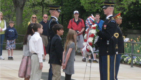 Several Valley Intermediate students participated in a laying of a wreath ceremony at the Tomb of the Unknown Soldier at Arlington National Cemetery during the annual school trip to Washington, D.C. (Contributed)f