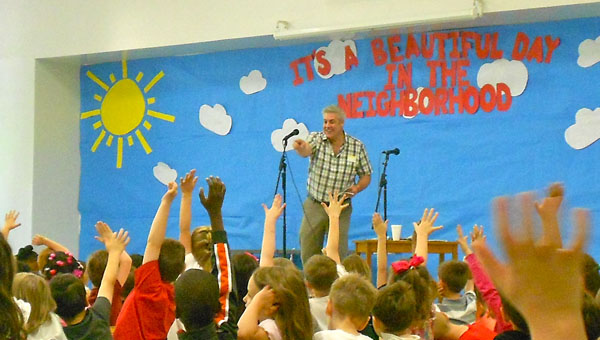 Author Michael Finklea visited Helena Elementary School on April 24, read students a story and encouraged them to love writing. (Reporter Photo / Molly Davidson)