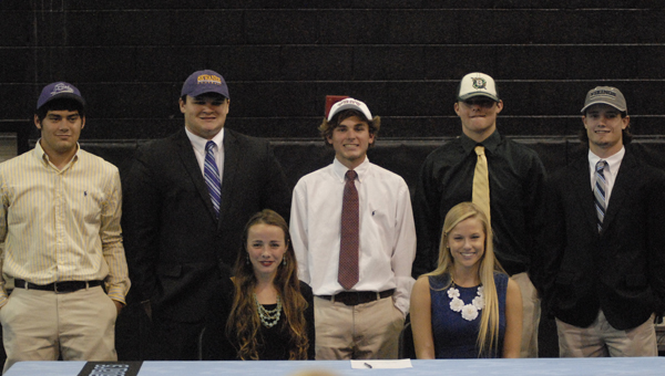 Spain Park High School hosted a special spring signing for seven athletes who inked scholarships to continue their careers on the collegiate level. (Reporter Photo/Drew Granthum)