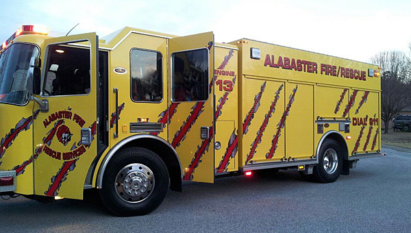 A tree fell across Shelby County 11 on April 4, damaging the undercarriage of Alabaster Fire Engine No. 13, pictured. (File)