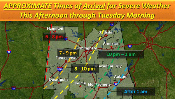A second round of severe weather is expected to hit central Alabama on Tuesday afternoon. (Contributed)