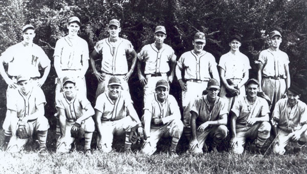 Pictured on the front row: LtoR: Ned Carey, Ed Lucas, Black Galloway, Henry Winslett, Bill Southern, Sid Saw, Glenn Bashore.. Back row: Raymond Lovelady, Luther Reach, J. D. Allen, Clyde Winslett, Ed Davis, Mack Smith, Albert Baumgartner. (contributed)