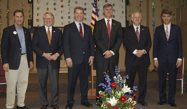 The seven Republican candidates vying for retiring U.S. Rep. Spencer Bachus' Sixth Congressional District seat discussed hard issues at a March 31 debate at Samford University. Pictured, from left to right, Gary Palmer, Will Brooke, Chad Mathis, Scott Beason, Tom Vignuelle and Paul DeMarco. Not pictured is Robert Shattuck. (Reporter Photo/Cassandra Mickens)