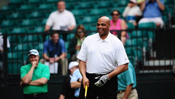 Former NBA and Auburn standout Charles Barkley traded friendly jabs with current Auburn basketball coach Bruce Pearl at the NCR Pro-am at Shoal Creek May 14. (Reporter Photo/Jon Goering)