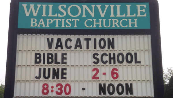 Wilsonville Baptist Church will host vacation Bible school June 2-6 from 8:30 a.m.-noon each day. (Contributed)