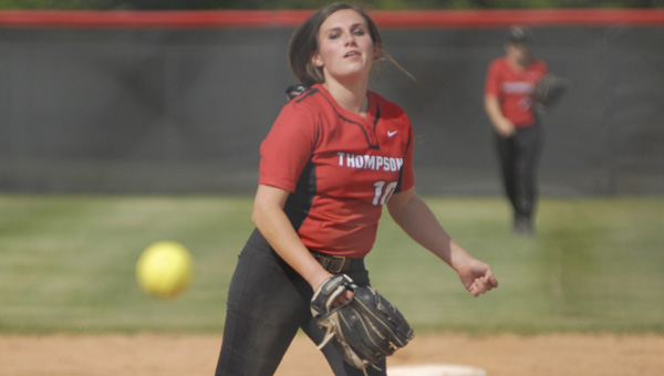 Thompson's Haley Crumpton retired 15 batters via strikeout in a 12th-inning loss to Wetumpka May 2. (Reporter Photo/Drew Granthum)
