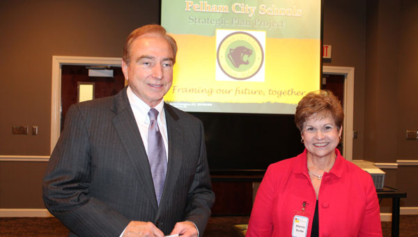 Interim Superintendent Tim Alford and Dr. Marcia Burke before beginning the meeting. (Contributed)