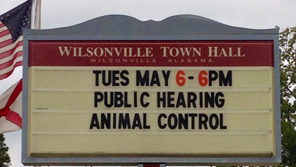 Wilsonville Town Hall held a public hearing on animal contron on May 6. (Contributed)