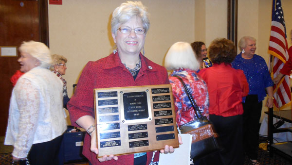 Alabama Federation of Women's Clubs Third District Director Peggy Pitts Wood, member of the Novella Club of Columbiana, won the AFWC Outstanding District Director fo the state of Alabama at the 2014 AFWC State Covention in Hunstville. (Contributed)