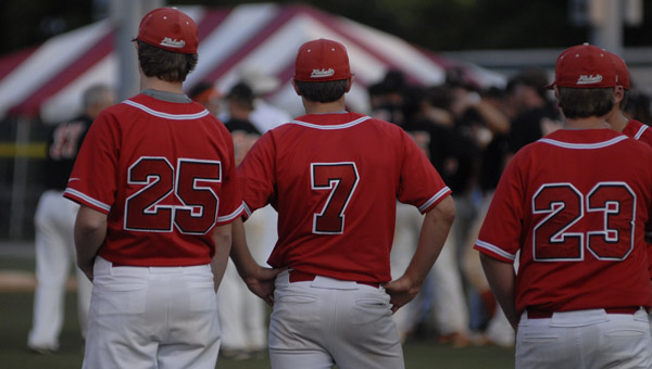 Members of Coosa Valley's baseball team watch on after falling 3-2 in game three of the AISA state championship. (Reporter Photo/Drew Granthum)