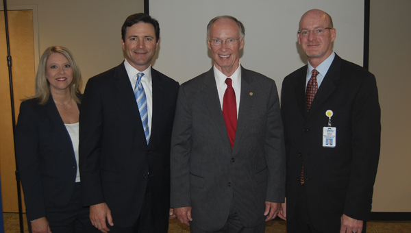 State Rep. April Weaver, Baptist Health System President and CEO Keith Parrott, Gov. Robert Bentley and Shelby Baptist Medical Center President David Wilson were on hand for the announcement of Shelby Baptist joining the Virtual Alabama network May 5. (Reporter Photo/Cassandra Mickens)