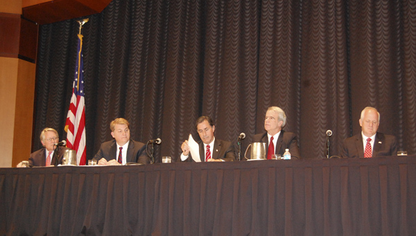 District 6 candidates Will Brooke, Chad Mathis, Gary Palmer, Robert Shattuck and Tom Vignuelle were on hand for a candidates forum at the Cahaba Grand Conference Center May 8 (Reporter Photo/Cassandra Mickens)