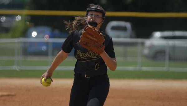 Pelham's Katie Lively struck out four in an elimination game loss to Baker in the AHSAA state championships May 16. (Reporter Photo/Drew Granthum)
