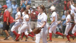 Spain Park pitcher Julie Knight walks off the field after Hillcrest-Tuscaloosa used a walk-off single to knock the Jaguars from contention at the AHSAA Class 6A state championships. (Reporter Photo/Drew Granthum)