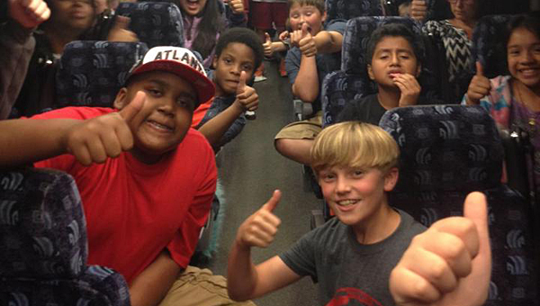 Thompson Intermediate School students give a thumbs up on their way home from a May 15 field trip to Chattanooga. (Contributed)