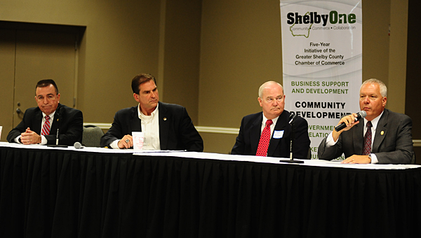 Candidates for the office of Shelby County Sheriff discussed issues such as cracking down on drugs and strengthening school safety at a candidate forum at the Pelham Civic Complex on May 21. (Reporter Photo/Jon Goering)