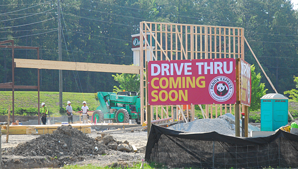 Crews work to construct a new Panda Express drive-through restaurant in Alabaster's South Promenade shopping center on the morning of May 22. (Reporter Photo/Neal Wagner)