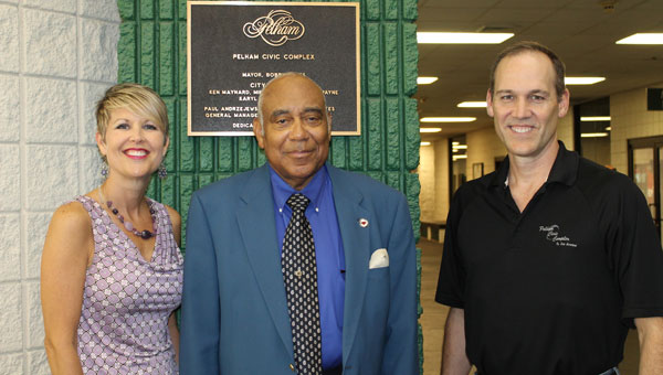 Principal planners, from left, Paula Holly, Mosley Johnson and Danny Tate meet at the site of Pelham's upcoming Golden Jubilee planned for July 11 and 12. (Contributed)