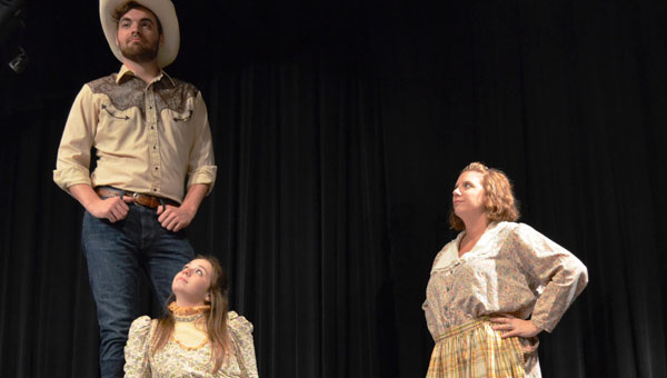 Principal performers blocking a scene for the upcoming Brick by Brick Arts production of Oklahoma at the MHS Performing Arts Center. (Contributed)