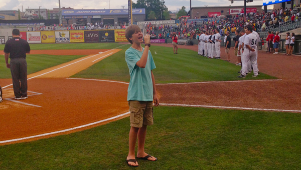 Helena resident Jordan Narkates performed the National Anthem in front of thousands at the Birmingham Baron's Regions Field on June 13. (Contributed)