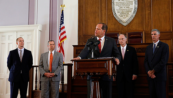State Sen. Cam Ward, center, R-Alabaster, is introduced as the chairman of the state's task force on prison reform. (Contributed)