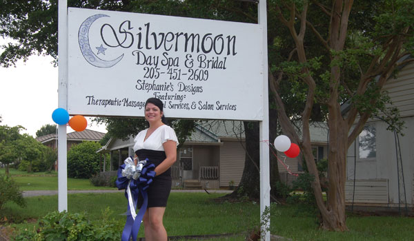 Anderson in front of Silvermoon Day Spa and Bridal in Montevallo (Ginny Cooper/For the Reporter)