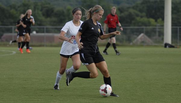 Alabama FC's Alexandra Arguello guards a Nashville player in the WPSL Finals. (Reporter Photo/Drew Granthum)