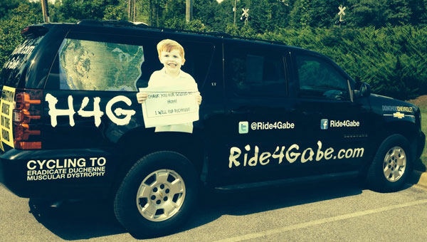 Ride4Gabe SUV that Glenn Nivens is driving for Gabe Griffin's DMD benefit. (Contributed)
