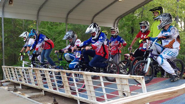 Racers get ready for the starting gate to drop at Oak Mountain BMX Track. The track hosted the 2014 Alabama State Games BMX race June 28. (Contributed/Oak Mountain BMX Track)