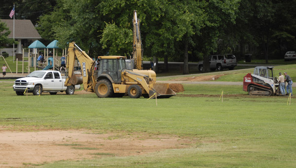 Construction crews take a break while working on the new University of Montevallo softball complex June 26. (Reporter Photo/Drew Granthum)