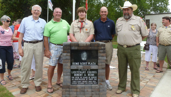 Landscape architect Bob Enoch, Mayor Stancil Handley, Eagle Candidate Randall Hunt, David Hume and Troop 560 Scoutmaster Sid Wheeler at the Hume Scout Plaza dedication on Liberty Day. (Contributed)
