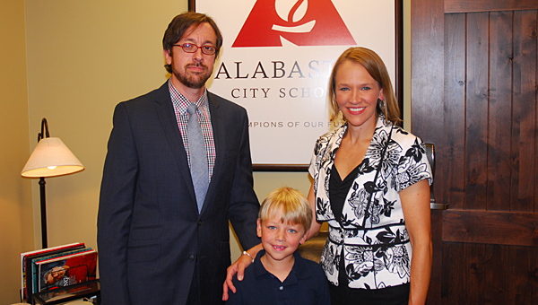 New Creek View Elementary School Principal Charissa Cole, right, with her husband, Jamie, and son, Sullivan. (Reporter Photo/Neal Wagner)