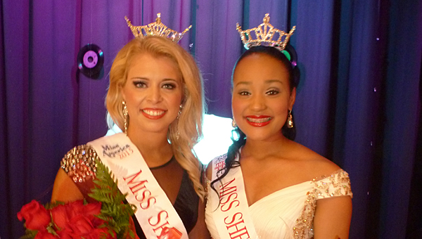 Miss Shelby County 2015 Amanda Ford and Miss Shelby County Outstanding Teen 2015 Tiara Pennington, both of Helena, were crowned at the Miss Shelby County Pageant Friday night, July 18, at Shelby County High School. (Contributed)