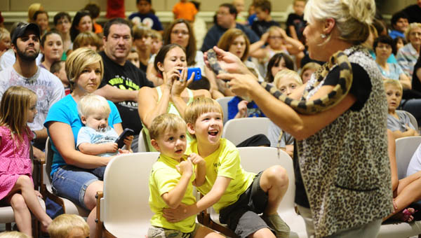 Helena's Jane B. Holmes Public Library presented Yarbrough's Educational Reptile Show on July 16 at City Hall. (Reporter Photo / Jon Goering)