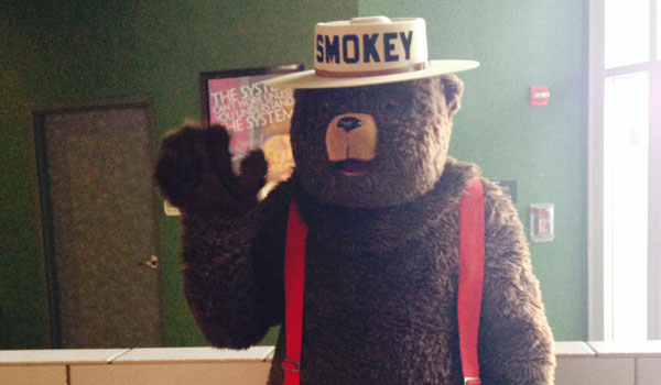 Smokey Bear appeared at the Carmike Lee Branch 15 on July 18.