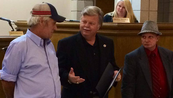 Helena Mayor Mark Hall presented Duane Lovelady and Ralph Watkins with the City Council and Mayor's commendations for their actions after a July 31 plane crash during an Aug. 18 City Council meeting. (Contributed)