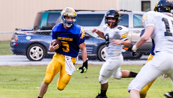 Hope's Dillon Thompson scores his first touchdown run of the night against Meadowview Christian on Aug. 22. (Contributed/Twanna Arnold)
