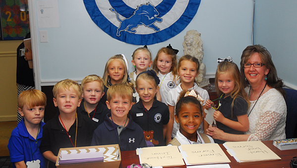 Kindergarten students at Kingwood Christian School visit Principal Ruth Gray during their first day of school on Aug. 13. (Reporter Photo/Neal Wagner)