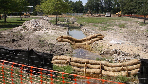 Alabaster is working to install a retention pond near the Beneful Dog Park to combat a muddy area of standing water. (Contributed)