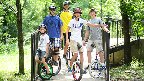 A group of local off-road unicyclists have sparked interest in the unique sport. (Reporter Photo/Jon Goering)