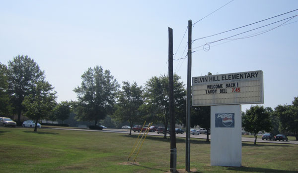 Elvin Hill Elementary started back to school at 7:45 a.m. on Aug. 7. (Reporter Photo / Ginny Cooper McCarley)