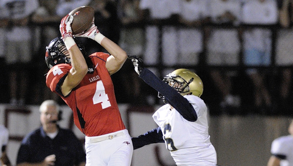 Oak Mountain's Reid Golson reels in a pass against Briarwood Christian on Sept. 26. (Contributed/Barry W. Clemmons)